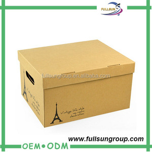 Easy open classical paper corrugated cardboard storage box the cartons