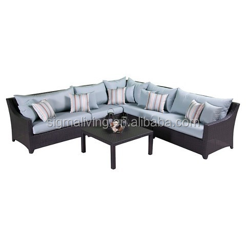 Outdoor furniture patio rattan furniture corner sectional cane sofa