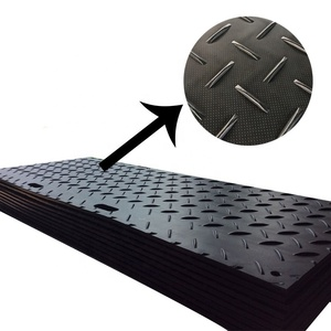 black HDPE ground protection mat cheap price used plastic excavator trackway 4x8 ft ground protection mats for heavy equipment