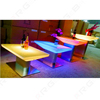 hot selling plastic top and stainless steel base led square bar cafe table