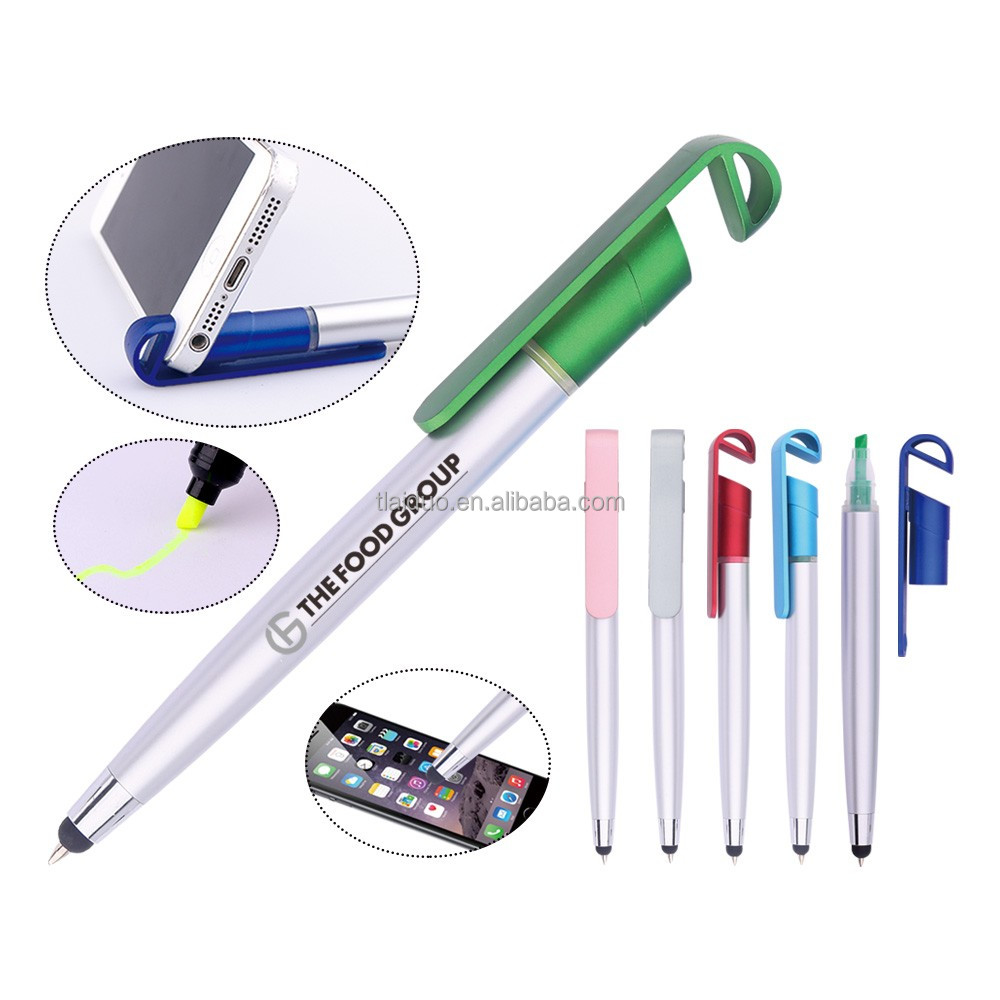 wedding return gift 4 in 1 multifunction pen factory direct sales low minimum stylus ball pen with highlighter and phone stand