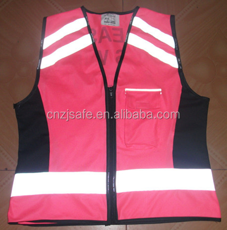 2016 Special Pink Knit Fabric Reflective Safety Vest with Zipper