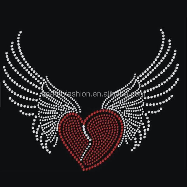 Wings and heart rhinestone template view rhinestone for Rhinestone template material wholesale