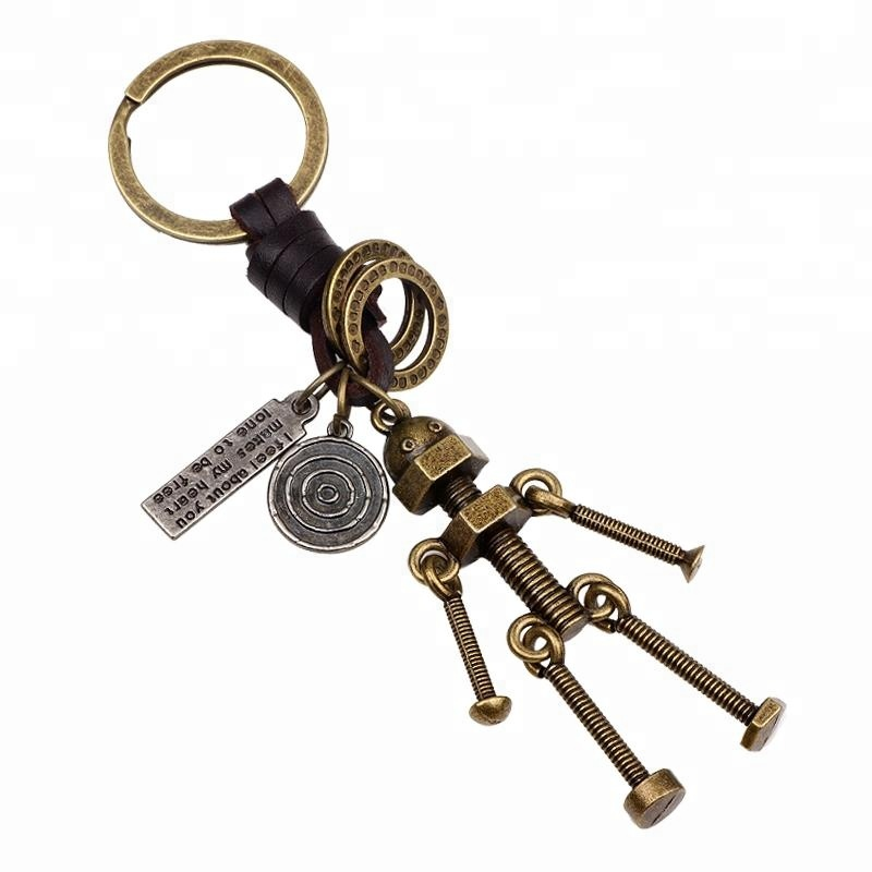 Copper Plating robot  Custom Metal Keychain with leather