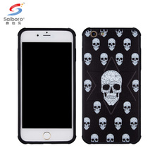 Bulk buy from china air cushion soft tpu embossed skull phone case for iphone 8 black case cover
