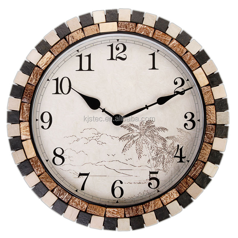 Metal with coconut shell and tarot mosaic numbers wall clocks