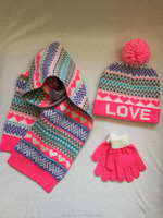 Fashion sweet heart and love jacquard knitted winter hat beanie rib scarf and magic gloves set for kids and girls