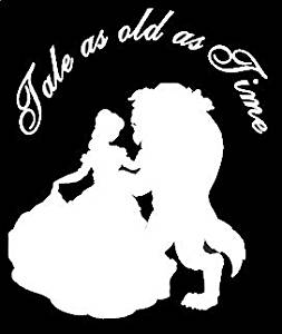 """Tale As Old As Time Beauty and the Beast 6"""" White Vinyl Car Truck Decal Sticker Disney Kids Fun Cute Girly Adorable Awesome Movies Classics Princess (White)"""