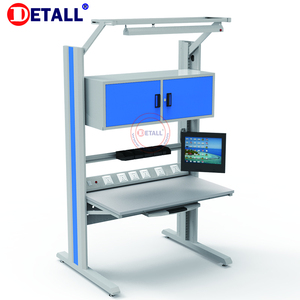 Detall esd professional customized modular electrician workbench with computer rack and light