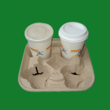 Wholesale paper pulp molded coffee mug carrier/cup tray
