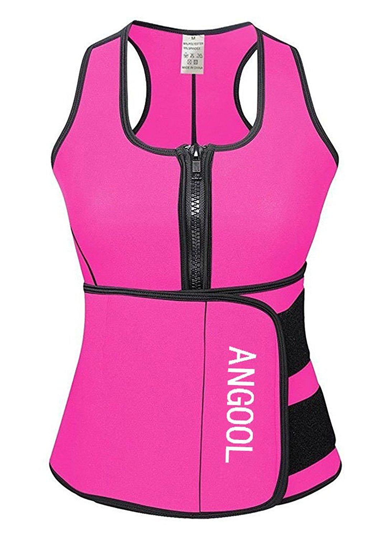 45b712df9886 Get Quotations · ANGOOL Waist Trainer Neoprene Hot Sweat Sauna Vest With Waist  Trimmer Belt For Weight Loss