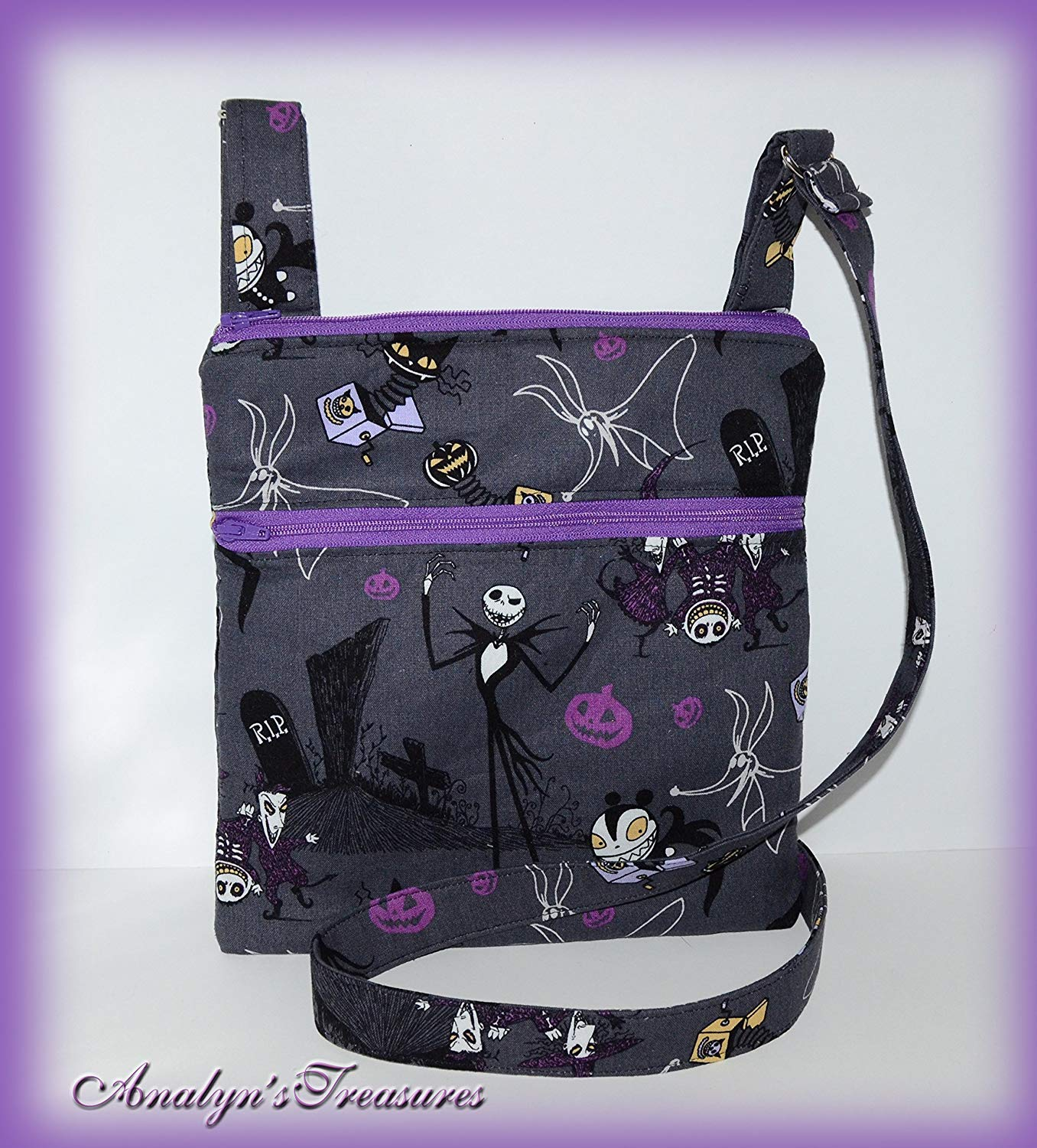 Nightmare Before Christmas Crossbody Bag, Crossbody Purse, Hipster Bag, Travel Bag, Travel Purse, Double Zippered Bag, Passport Bag