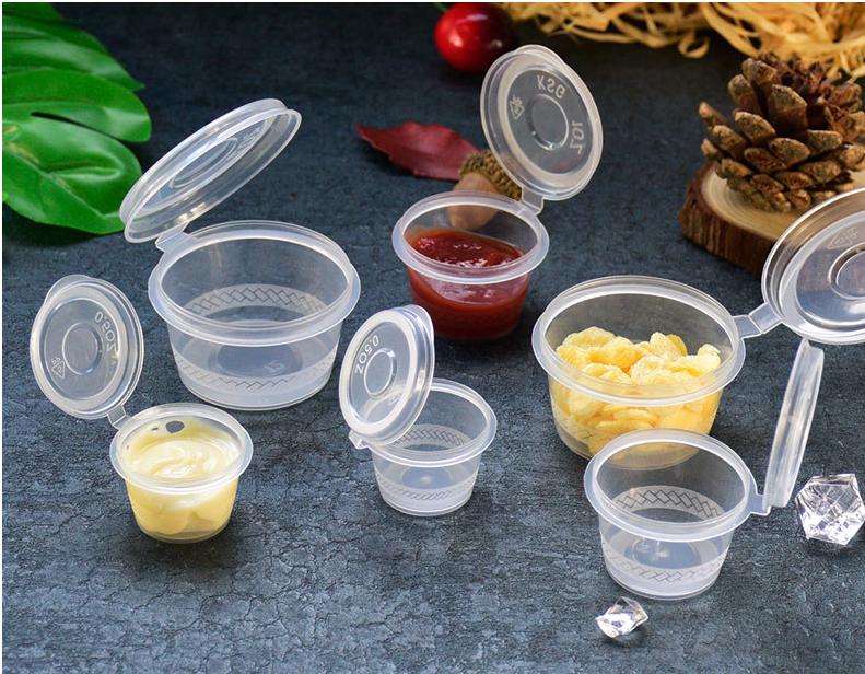 Цена по прейскуранту завода-изготовителя 0,5 oz 1oz 2oz PP соус чашки салатная заправка чашки одноразовый контейнер для пищевых продуктов с подключенным крышкой