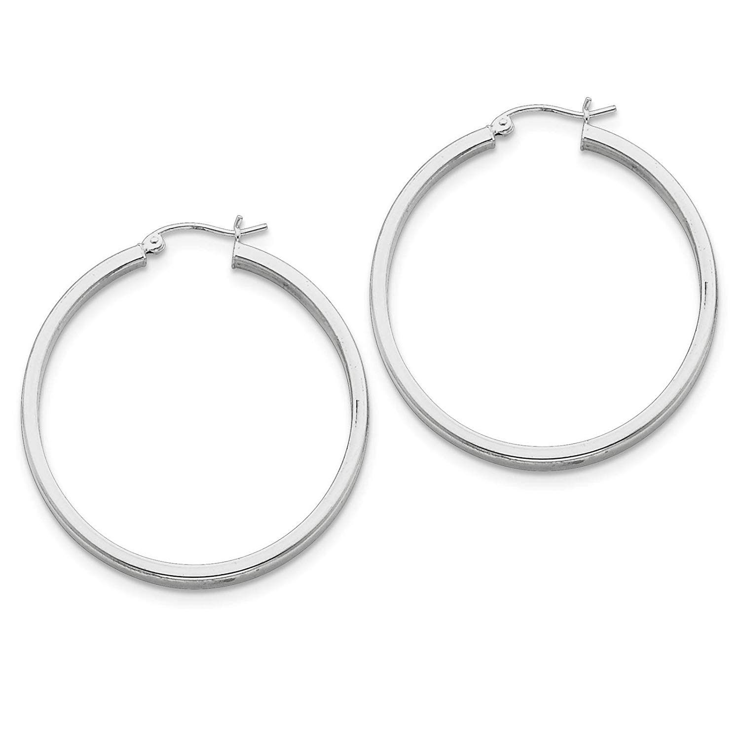 .925 Sterling Silver Rhodium-plated Polished Square-tube Hoop Earrings 3mm x 40mm