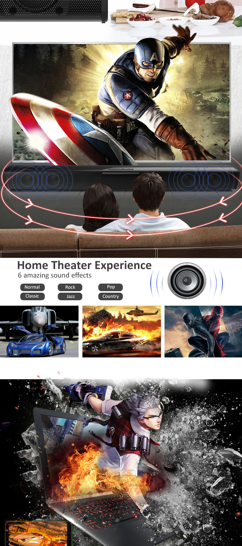 Wireless Bluetooth Home Theater Bass Soundbar Speaker dengan 3.5mm audio