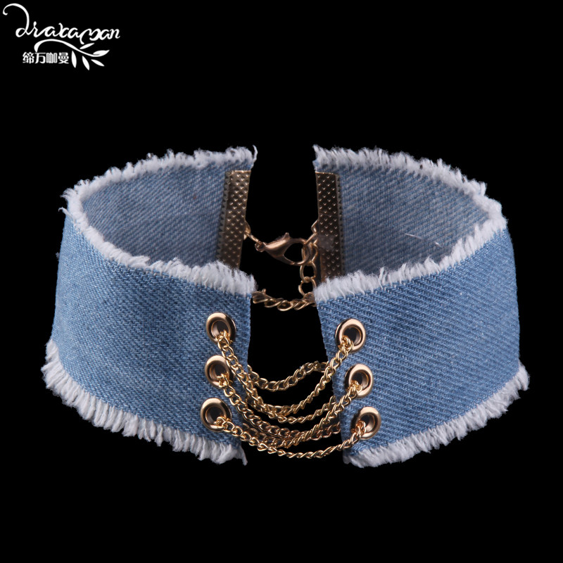 Dvacaman Brand 2017 Jeans Cloth Chokers Necklace Women Short Clavicle Necklace Party Show Statement Necklace Jewelry Bijoux AA35