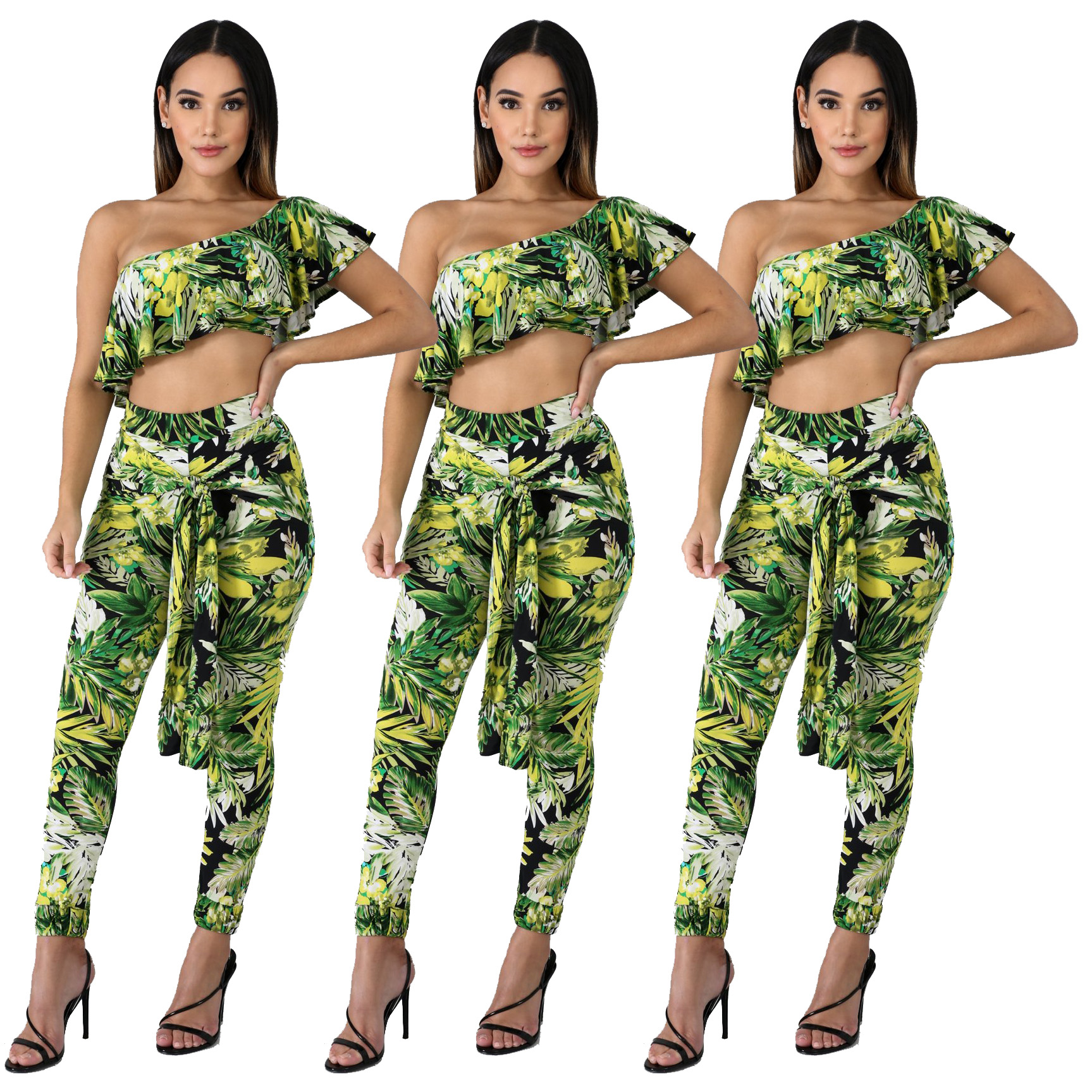 Wholesale women fashion floral pants and one shoulder top outfits SD9105