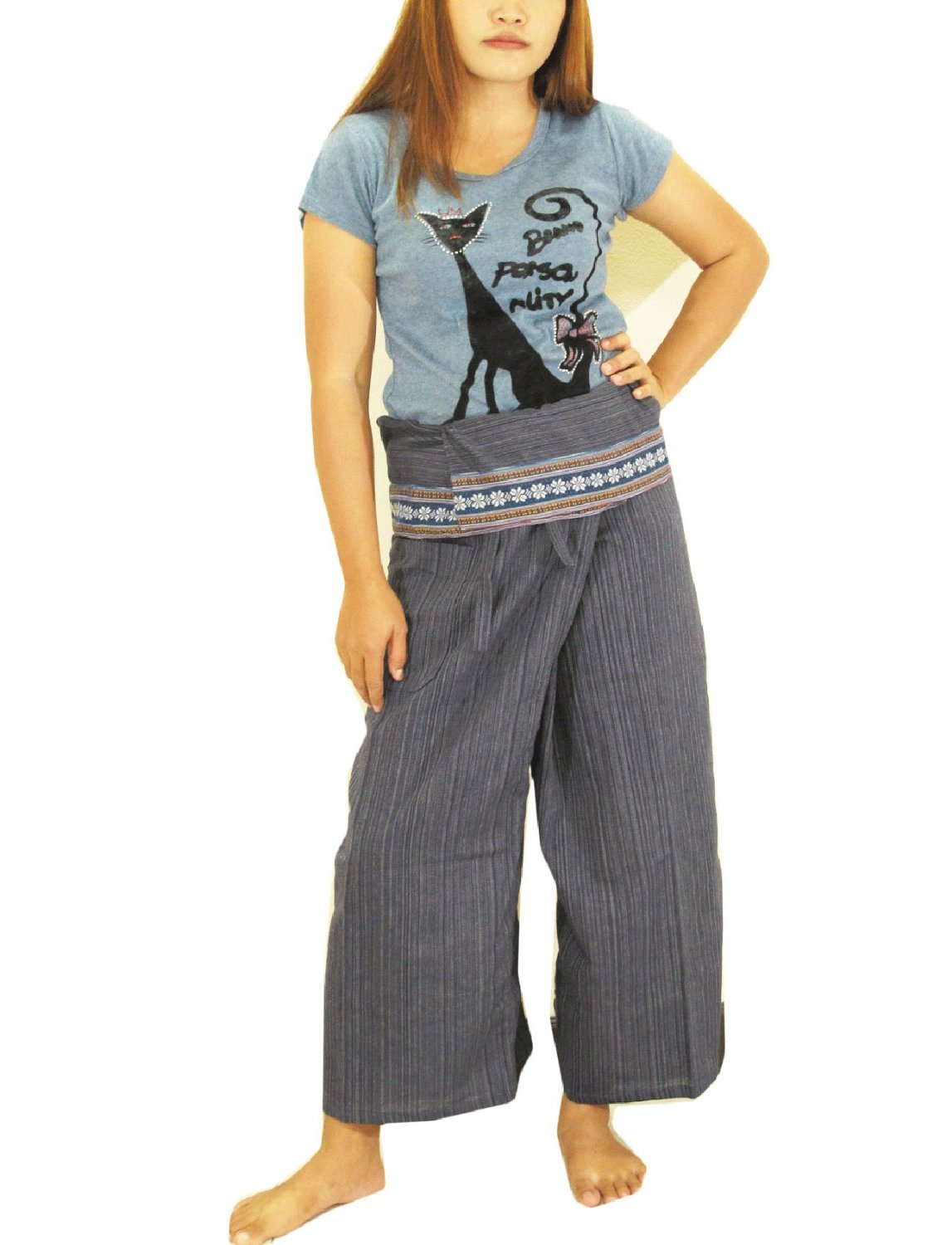 23392fedd3c Get Quotations · 2 TONE Thai Fisherman Pants Yoga Trousers FREE SIZE Plus  Size Cotton