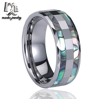 Top Quality Tungsten Carbide Ring with Double Abalone Shell Inlay for Men Engagement Wedding Bands