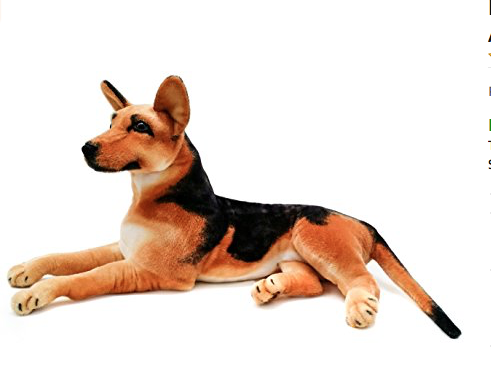 Realistic German Shepherd 3 Foot (Without Tail!) Big Stuffed Animal Plush Dog Shipping By Tiger Tale Toy