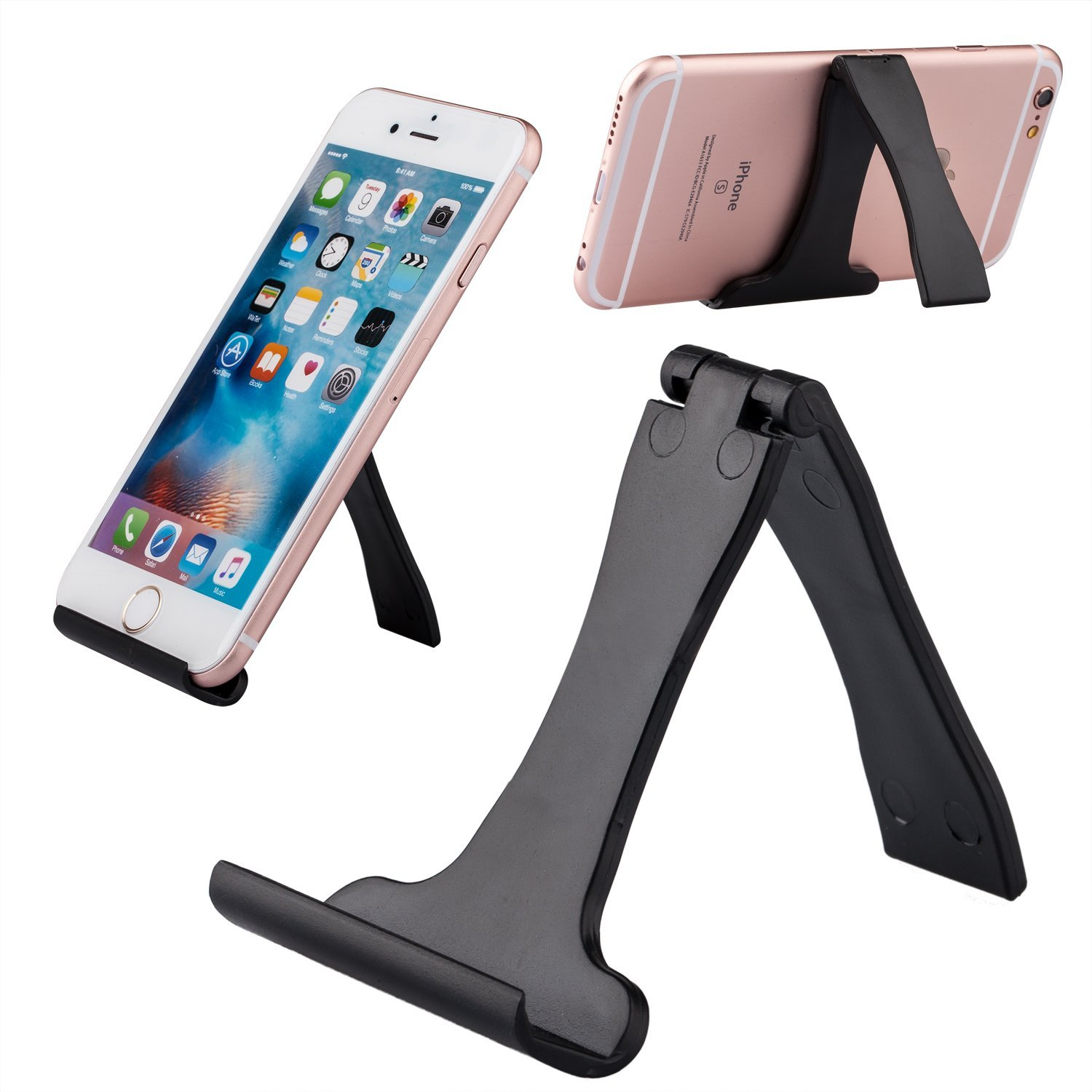 Buyus iPhone 7 / 7 Plus Stand for Desk, fits Apple iPhone 6 / 6S, Plus, 5 / 5S / 5C / SE, 4 / 4S, iPod, Samsung Galaxy J2, S7, S6, Edge, S5, S4, S3, Note 5, 4, 3, LG G5, G4, G3 and More (Black)