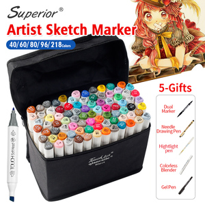 Superior 40/60/80/96/218Colors Artist Double Headed Art Marker Pen Set Smooth Design Marker Animation Sketch Markers For Drawing
