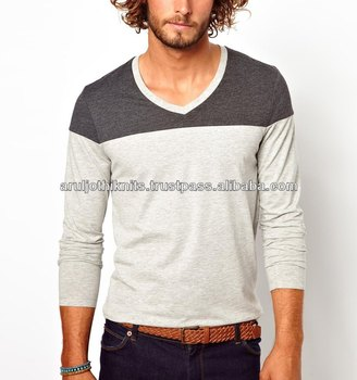 674fdb7212ac Mens V Neck Long Sleeve T Shirt With Cut And Sew - Buy Deep V Neck ...