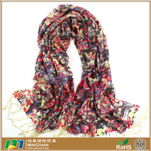 2016 New style fashion scarf, warm long beautiful scarf with colorful floral print tassel 100% wool scarf shawl wrap