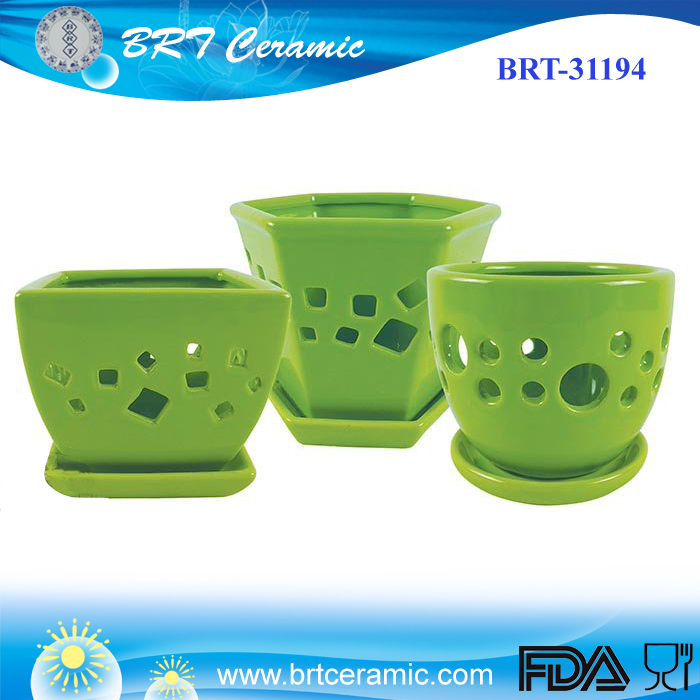 Ceramic Orchid Pots with Attached Saucers