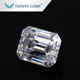 high quality emerald cut moissanite10x8mm DEF color clear white moissanite loost stones