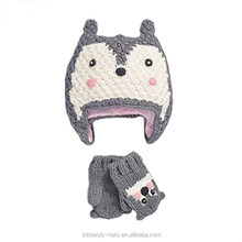 Top sale Custom fashion High quality knitting winter gloves hat kids set for wholesale