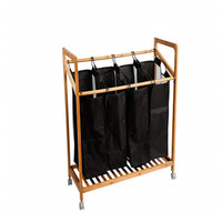 Laundry Sorter Cart Heavy-Duty 4-Bag With Wheels and Movable Black Bags Bamboo Cloth Storage Basket