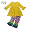 High quality knit cotton kids wear long sleeve baby clothing Mardi Gas 2pcs girl clothes for winter