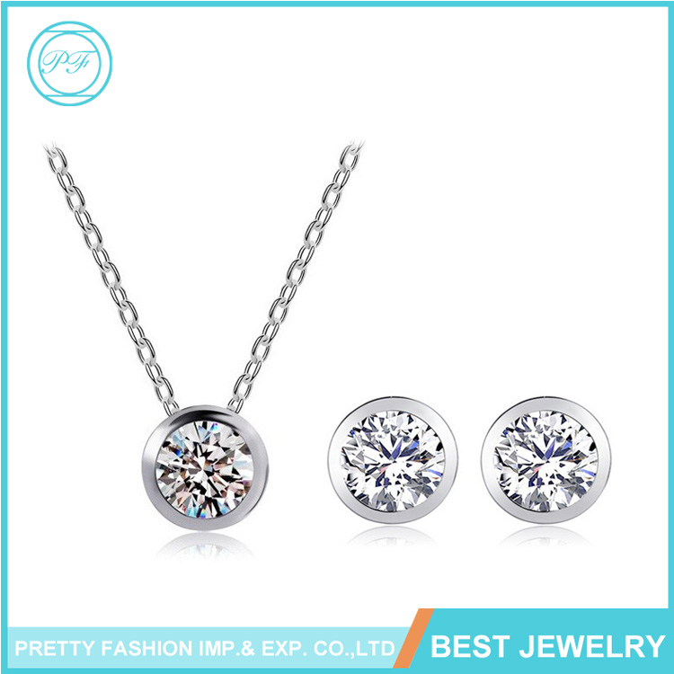Wholesale Big Round Color Diamond Necklace Earring Jewelry Set For Girls