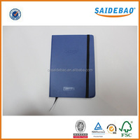 High quality leather notebook with elastic band closed,New arrived note book/hardcover notebook with silk ribbon bookmark
