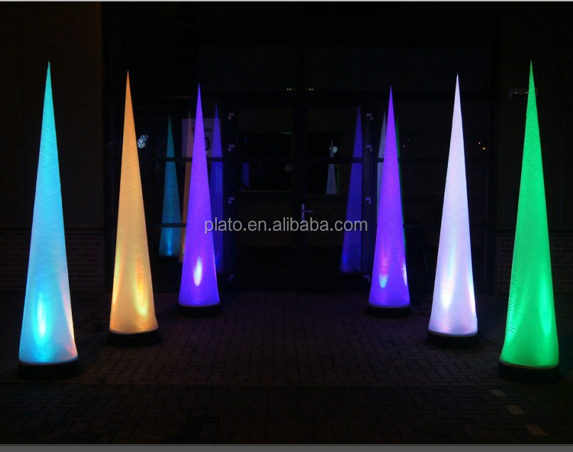 Decorative LED changing inflatable lighting cone, attractive inflatable tube for advertising