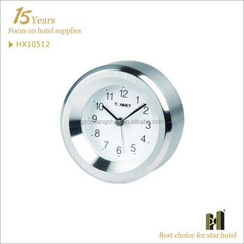 Stainless Steel Round Shape hotel alarm clock