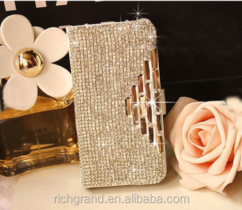 Fashion For Girls For Various Mobile Phone Bling Luxury Crystal Slot Card Flip Wallet Leather Case