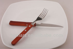 stock stainless steel new promotional items wooden handle flatware