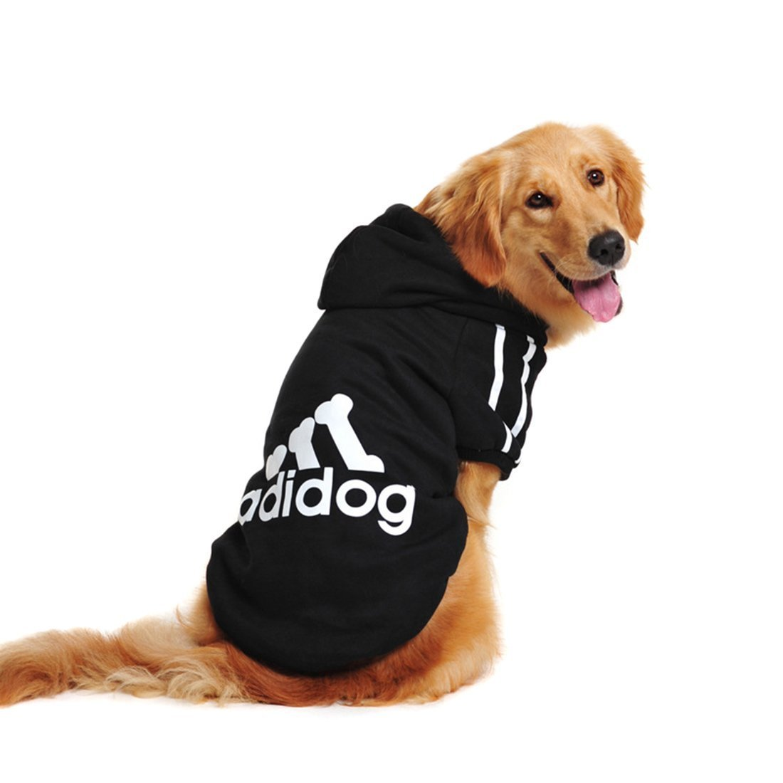 FuzzyGreen Dog Hoodie, Cozy Soft Sweatshirt Sweater Clothing for Medium Large Pet Dog (Black,3XL)