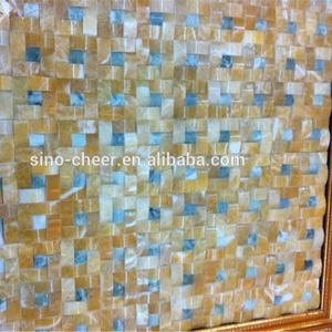 Honey Onyx Polished Mosaic Tiles kitchen backsplash