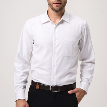 100 Cotton Long Sleeve White Business Office Formal Dress Shirt For Men Mens Shirts Product