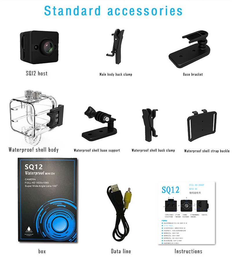 SQ12 Waterproof Mini DV Sport Camera Extreme Action Camera HD Video Recording For Jumping Skiing Flying Sports