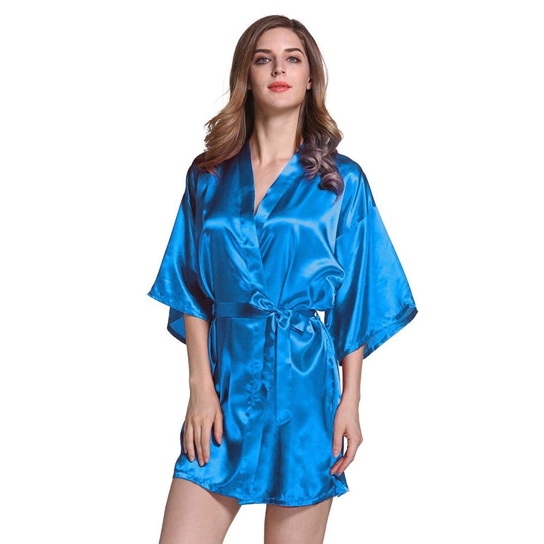 Get Quotations · Amurleopard Womens Kimono Robe Knee Length Bridal Lingerie  Sleepwear Pure Colour Short Satin Robe Blue L 89eadb282