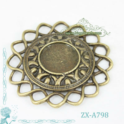 16mm Filigree Blank Cameo Bezel Settings Antique Vintage Brass Bronze Fit For Resin Glass Cabochon