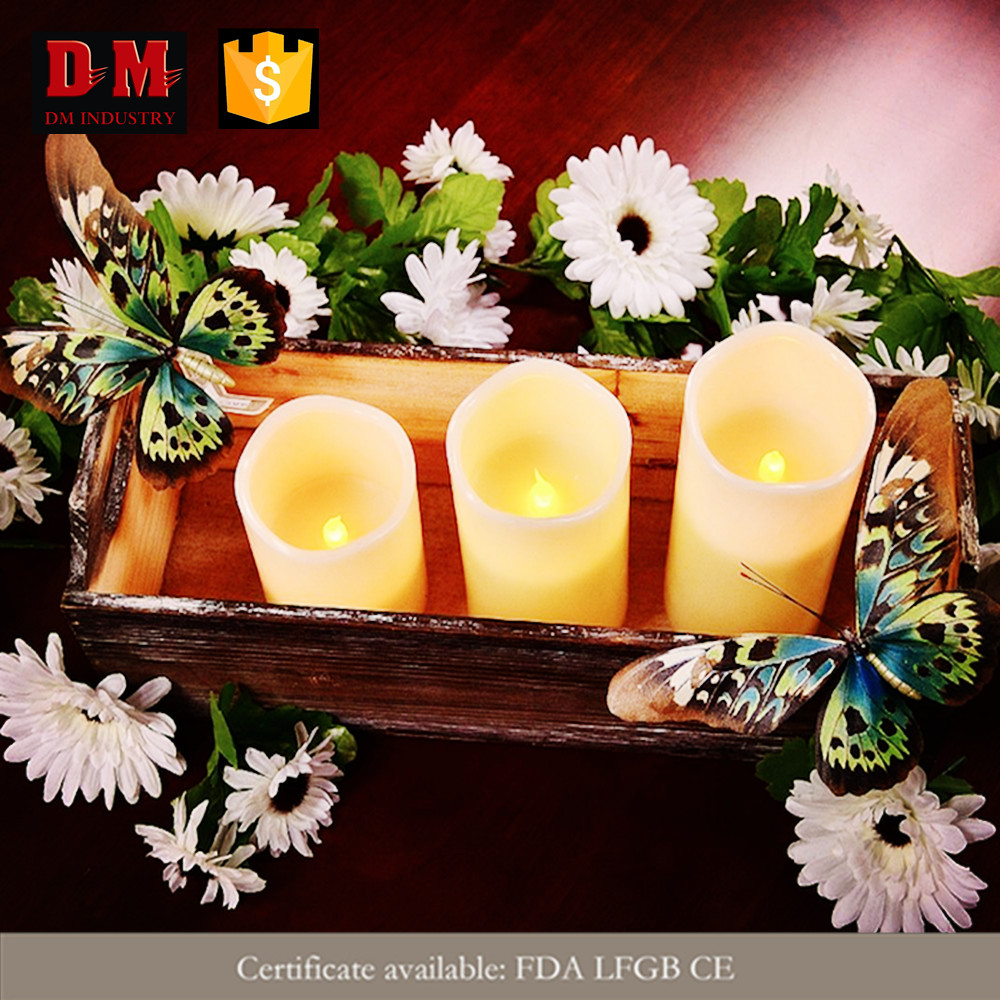 3 pieces flickering flame manufacturer wholesale ON-OFF led light candle