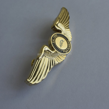 Superb Personalized Flight Academy Soft Enamel Coated Casting Alloy Wings Pilot  Lapel Pin