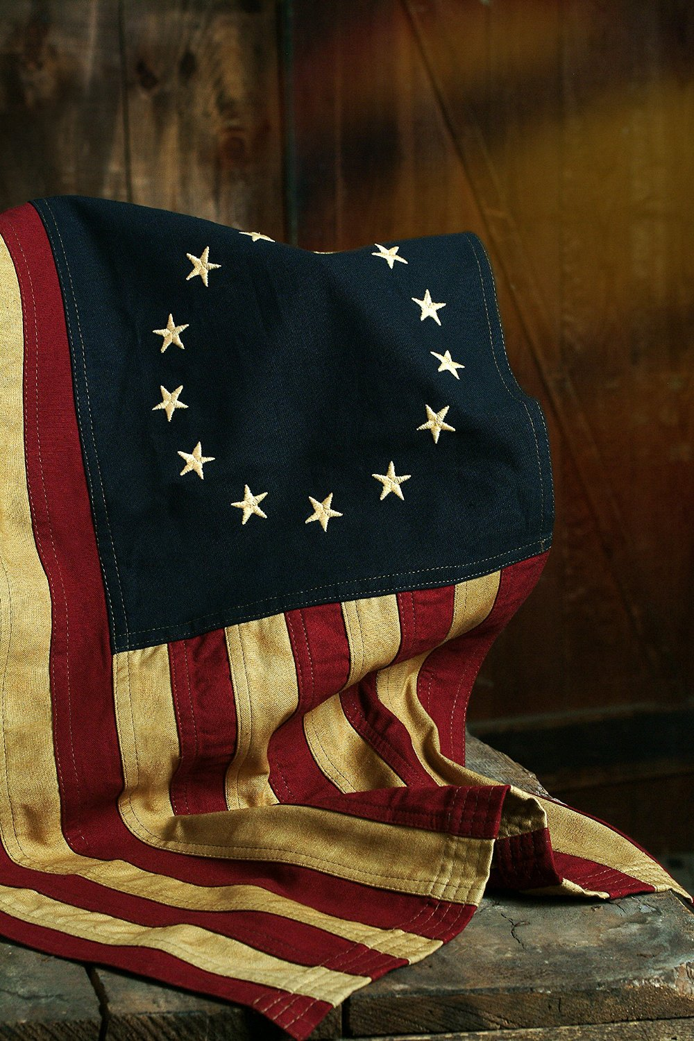 "Beautiful Colonial ""Tea Stained"" Small Betsy Ross 28"" x 17"" American Flag 13 Stars"