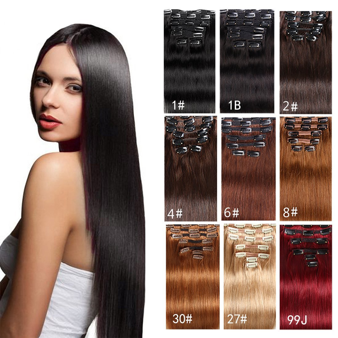 """Clip in Hair Extensions Human Hair Brazilian Virgin Hair Double Weft Full Head Straight Natural Jet Black Brown Blonde Copper Red Burgundy 70g-160g 7 Pieces/set 8""""-28"""" (200g 26"""", Natural Black)"""