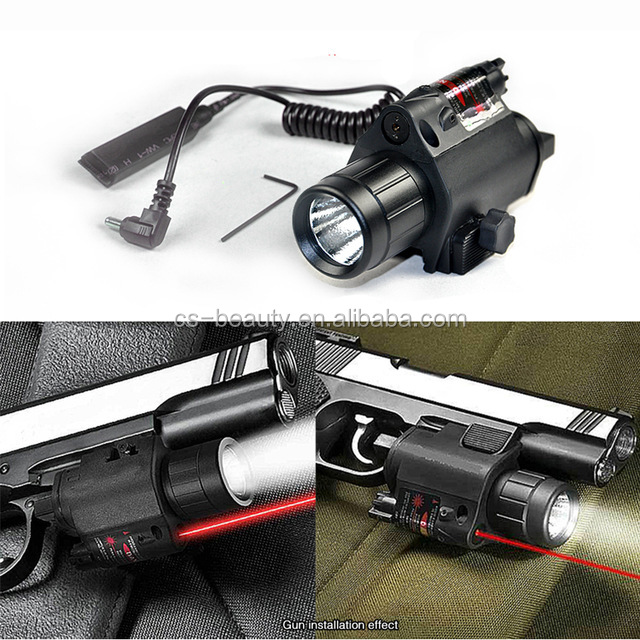 Drop Shipping 2 in 1 Tactical LED Flashlight/LIGHT +Red Laser/Sight Combo for Shot gun Glock 17 19 22 20 23 31 37, Black
